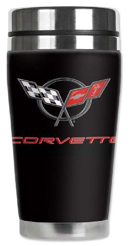 Mugzie Corvette C5 Logo Travel Mug with Insulated Wetsuit Cover, 16 oz, Black