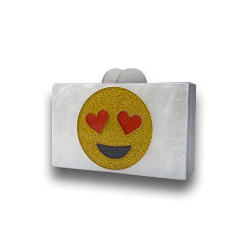 Bolso Smiley Noche Rectangular De Wenl Acrílico Paquetes Cara Blanco De vxtw6qg