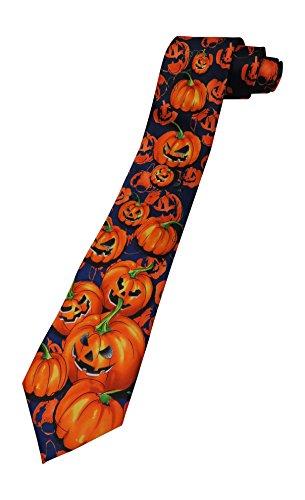 Men's Jerry Garcia Halloween Pumpkin Jack o Lantern Tie Necktie - Orange Alligator (Jerry Garcia Halloween Ties)