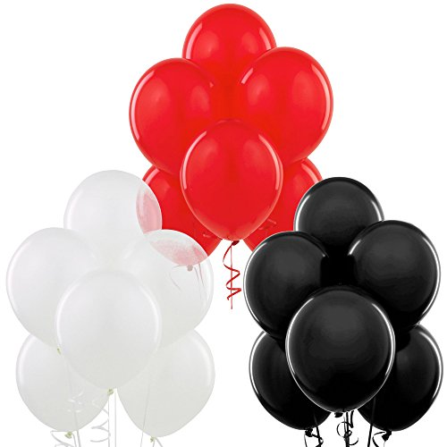 Black, Red, White 12 Inch Thickened Latex Balloons, Pack of 24, Premium Helium Quality for Wedding Bridal Baby Shower Birthday Party Decorations Supplies Ballon Baloon Thinken