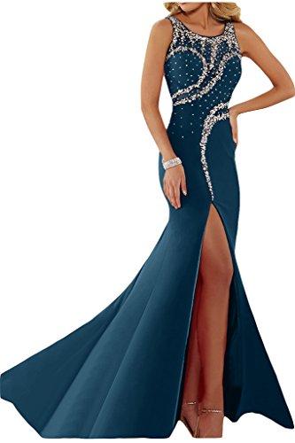 Ivydressing Vestido de fiesta para mujer, abertura, cuello redondo, pedrería azul oscuro