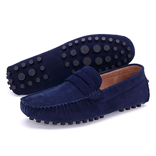 Moccasins Men's Blue Loafers Leather Ceyue Fq6Ow