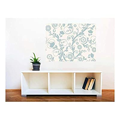 Removable Wall Sticker/Wall Mural - Seamless Floral Pattern | Creative Window View Home Decor/Wall Decor - 36