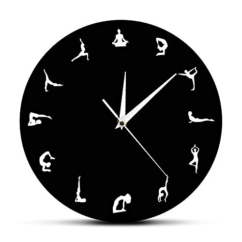 The Geeky Days Yoga Positions Wall Clock Yoga Meditation Wall Decor Gift Yoga Hindu Philosophy Align Yourself Spiritual Yogi Modern Wall Clock by The Geeky Days