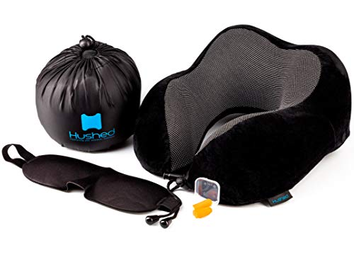 - Hushed Comfortable Memory Foam Washable Breathable Neck Travel Pillow for Airplanes with Travel Kit Including Ear Plugs and Eye Mask Set (Black)