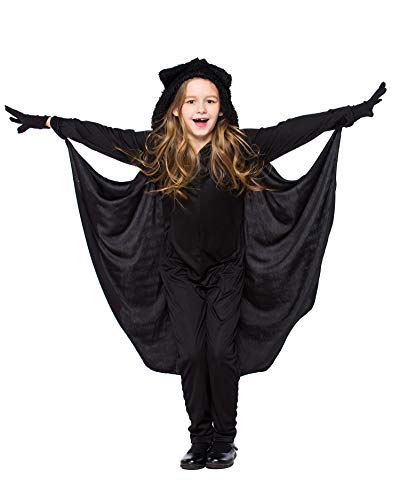 Batman Halloween Costumes For Girls (ECOLIVZIT Batgirl Halloween Costume Child Batman Jumpsuit Bat Girl Hoodie with Glove XL)