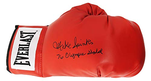 Michael (Mike) Spinks Signed Everlast Red Boxing Glove w/76 Olympic Gold (Olympic Boxing Gloves)