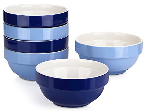 DOWAN 16 Ounce Bowls for Cereal/Dessert/Ice Cream, Set of 6, Assorted Colors (Square Cereal Bowl)