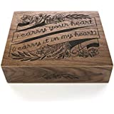 I Carry Your Heart E.E. Cummings Laser Cut Wood Keepsake Box [Christmas/Wedding Gift/Anniversary / Baby Shower Gift/Love / Heirloom/Mother's Day Gift]