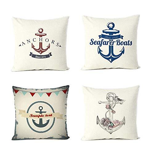 Tuersuer Pillow Covers Cotton Pillowcase Nautique Couvre-Lit Taie D'oreiller Case Housse De Coussin Décoration De Maison 45Cm 45Cm, 4 Pièces