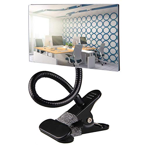 Gosear Office Clip On Cubicle Mirror, Computer Rearview Mirror, Convex Mirror for Personal Safety and Security Desk Rear View Monitors or Anywhere (Rectangle) (Desk Anywhere)