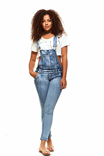 V.I.P.JEANS Casual Blue Jean Bib Strap Pocket Overalls for Women Ankle Length Slim Fit Junior Size 5 Bleach Wash