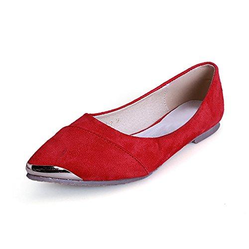 OCHENTA Calzados informales planos de metal de la boca baja zapatos de gran talla Rojo