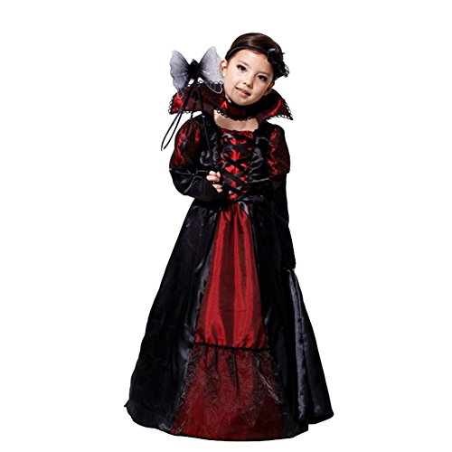 CH&Q Children Halloween Costume Kids Girls Royal Vampire/Evil Queen Costume Princess Party Fancy Dress Purple ()