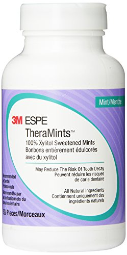 - 3M Oral Care ESPE 12119M TheraMints 100% Xylitol Sweetened Mints, Mint Flavor, 520 Mint Bottle with Travel Tin