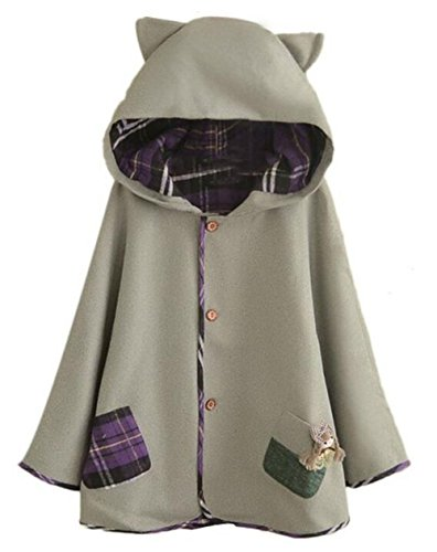 Luckyauction Women's Cute Button Down Tweed Cat Ears Hooded Cape Grey OS