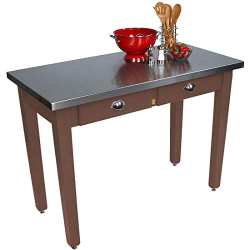 John Boos Cucina Milano Kitchen Island with Stainless Steel Top, 48W x 24D x 30 H, Walnut Stain