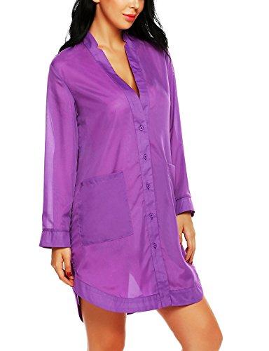 Avidlove Women's Button-Front Nightshirts Long Sleeve Pajama Top Dress Sheer Bikini Cover UPS