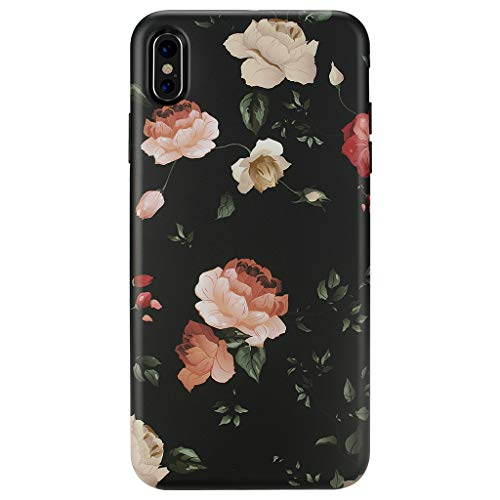 iPhone Xs MAX Case,GOLINK Matte Finish Floral Series Slim-Fit Ultra-Thin Anti-Scratch Shock Proof Dust Proof Anti-Finger Print TPU Gel Case for iPhone Xs MAX 6.5 inch(Floral #9 Rose)