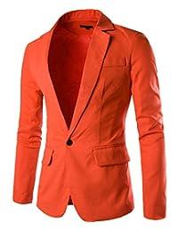 Cottory Men's Fashion Slim Fit Notched Lapel Center-Vent Back One-Button Blazer