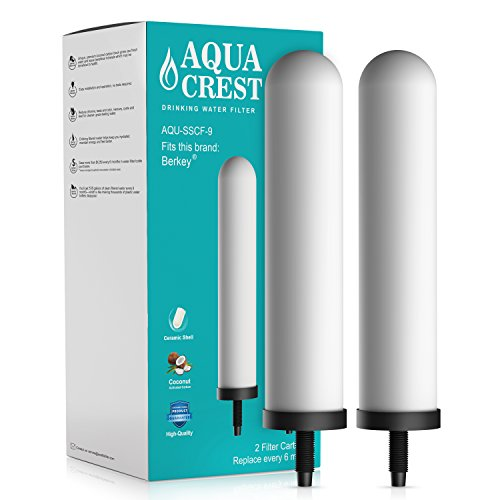 AQUACREST Replacement SSCF-9 Water Filter, Compatible with British Berkefeld SSCF-9 9-Inch Ceramic Filter (Pack of 2)