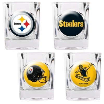 Steelers Shot Glasses - NFL Pittsburgh Steelers Four Piece Square Shot Glass Set (Individual Logos)