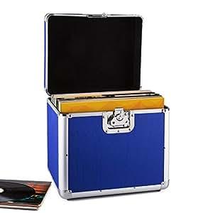 Resident DJ Zeitkapsel caja de aluminio para vinilos (capacidad de 70 LP's, cierre de mariposa, bordes reforzados, asa ergonómico, peso vacío de 2,4 kg) - azul