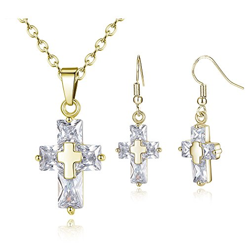 Fashion Women Jewelry Set Zircon Cross Necklace Earrings and Cube Pendant Necklace Hook Earrings Set (Hook Earrings Set)