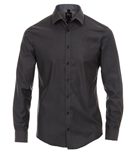 VENTI Slim Fit Hemd Langarm Muster schwarz