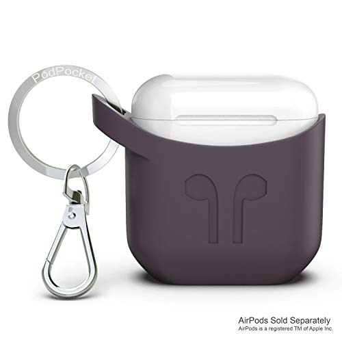 Airpods case with Keychain Apple iPhone Compatible by PodPocket -Premium Silicone Protective Case, Cover, Skin -Slides Easily into Pocket and Has Open Bottom for Charging -(Cocoa Gray)