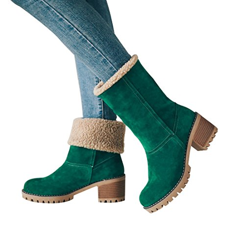 Suede MORNISN Boots Toe Winter Snow Round Womens Heel Chunky Green Warm Fur mid Faux Ankle Booties pffw1Y