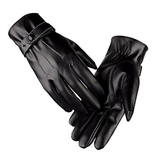 D.King Men's Winter PU Leather Gloves Touchscreen Driving Gloves Wool Lined Black