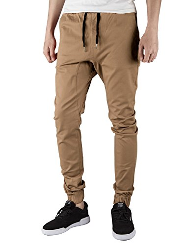 ITALY MORN Mens Chino Jogger Pants Casual Khaki Slim Fit Jogging Pant (XL, Dark Khaki)