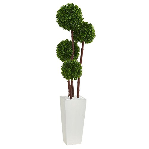 (Nearly Natural Artificial Tree UV Resistant 4' Boxwood Topiary in Planter (Indoor/Outdoor), Green)