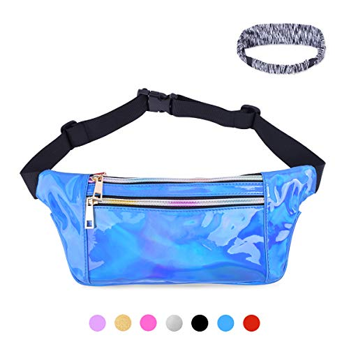 Suxman Holographic Fanny Pack for Women and Men, Fashion Cool Fanny Packs for Girls, Waterproof Shiny Waist Pack with Adjustable Belt for Festival, Travel, Hiking, (Small Sequin)