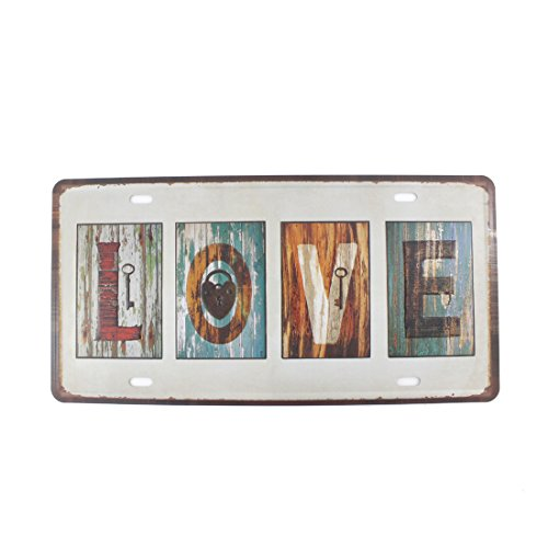 6x12 Inches Vintage Feel Home,bathroom,shop and Bar Wall Decor Souvenir Metal Tin Sign Poster Plaque (LOVE Key & Lock)