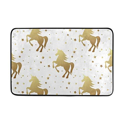 f2087611a24b5 Naanle Entrance Doormat Magic Golden Unicorn and Star Horse Fairy On White  Indoor Bath Door Mat Rug Non-Slip Doormat 23.6x15.7 Inch Machine Washable  ...