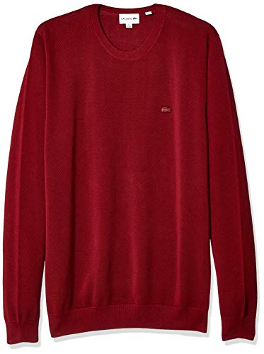 Lacoste Men's Long Sleeve GG12 MESH Effect Pique Crewneck, Pinot, XX-Large