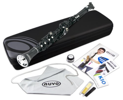 Nuvo N100CLBK Clarineo Kit with Case & Accessories, Black with Stainless Steel Collars by Nuvo