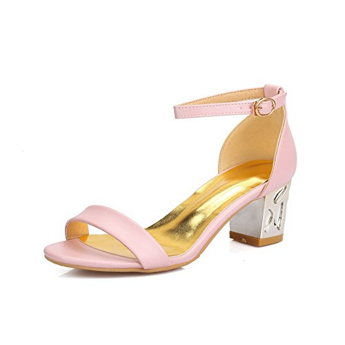 AllhqFashion Women's Solid PU Kitten-Heels Open Toe Buckle Sandals Pink