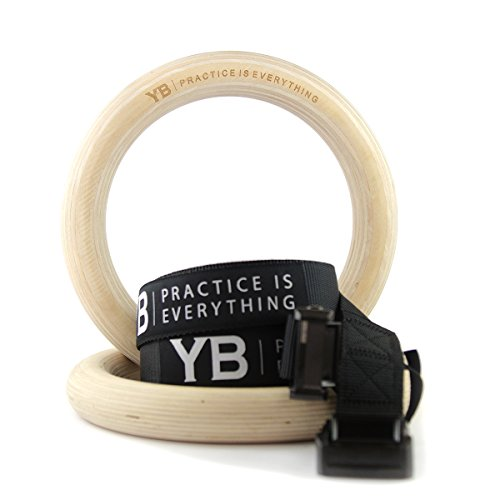 Wooden Gymnastic Rings [official] x2 Ultra-Smooth Birch with Adjustable Long Straps & Rock-Solid Clips for Muscle Ups, Pull Ups, Yoga & CrossFit Training by YOGABODY