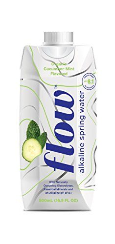 Flow Alkaline Spring Water, Organic Cucumber + Mint, 100% Natural Alkaline Water pH 8.1, Electrolytes + Essential Minerals, Eco-Friendly Pack, 100% Recyclable, BPA-Free, Non-GMO, Pack of 12 x 500ml