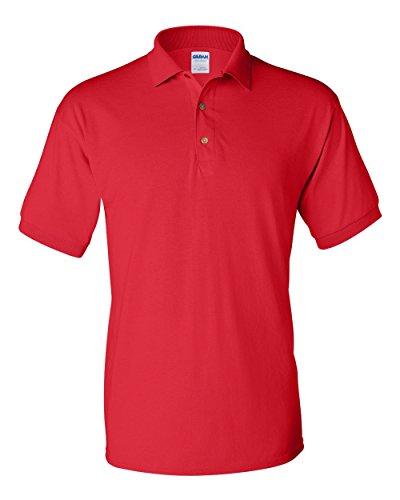 Gildan-Ultra Blend 50/50 Jersey Knit Golf Shirt~Red~Adult-MD