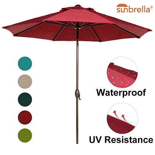 Abba Patio 9-Feet Sunbrella Fabric Patio Umbrella Outdoor Table Umbrella with Auto Tilt and Crank (Red Sunbrella Canopy)