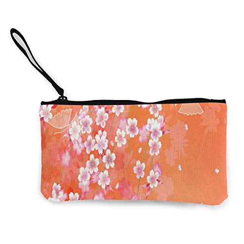 Coin Purse Japanese Kimonos Patterns Orange Teen Fastener Canvas Wallets ChangeHot Holder