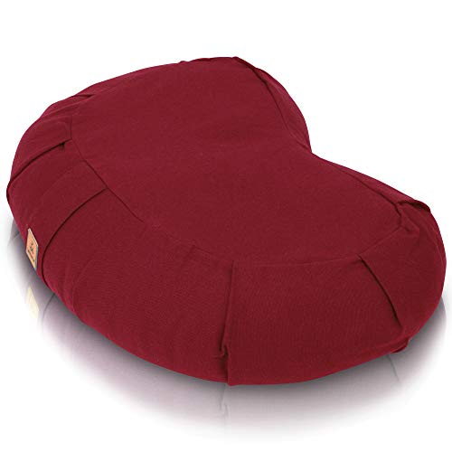 Buckwheat Crescent Half Moon Therapeutic Meditation Cushion | Yoga Pillow | Ergonomic Design Relieves Back, Hips, Leg Stress for Total Comfort | Washable Premium Organic Cotton Removable Cover - Red