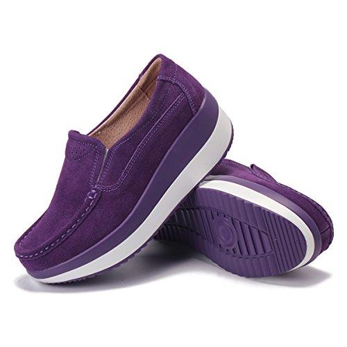 Piattaforma Con Comodo Mocassini Loafers Gracosy In Cuneo Nascosto Da Guida Sneaker Tacco Comode Zeppa Donna Viola Casual Moda Scamosciato Scarpe Pelle d0Xwx5Fw