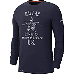 Dri-fit cotton long sleeve tee. Screen printed with salute To service inspired graphicdallas Cowboys team logo on front chestswoosh design trademark on left sleeve care: machine wash