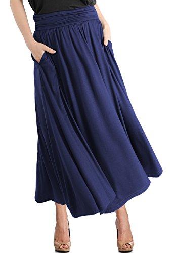 TRENDY UNITED Women's High Waist Fold Over Pocket Shirring Skirt - Length Skirt Tea