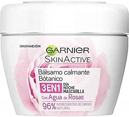 Garnier Skin Active Balsamo Calmante Botanico de Dia y de Noche y Mascarilla con Agua de Rosas - 2 Paquetes (2 x 140 ml)